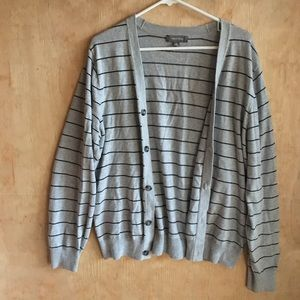 Gray Cardigan with thin Blue stripes